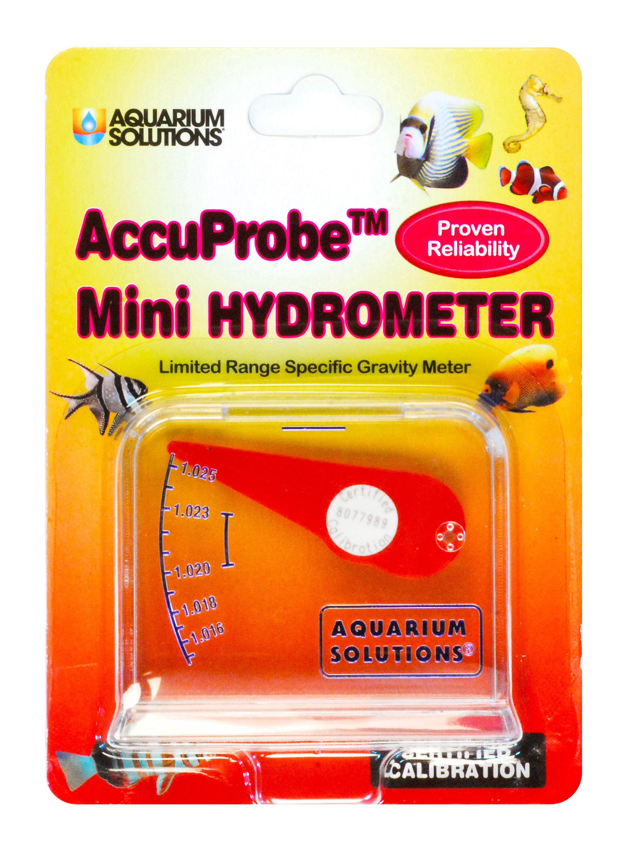 Aquarium Solutions® AccuProbe™ Mini Hydrometer - Limited Range Specific Gravity Meter For Marine Aquarium Use